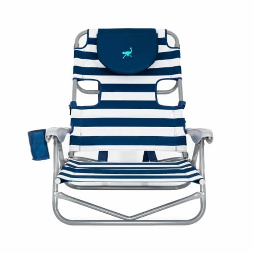 Ostrich On-Your-Back Outdoor Lounge 5 Position Recline Beach Chair, Striped Blue Perspective: back