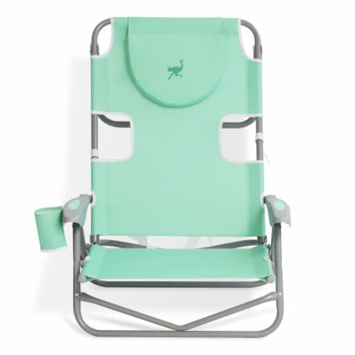 Ostrich On Your Back Folding Reclining Outdoor Beach Camping Lawn Chair, Teal Perspective: back