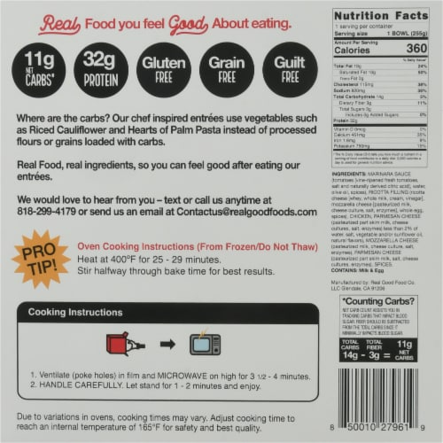 The Real Good Food Company Chicken Lasagna Bowl Frozen Meal Perspective: back