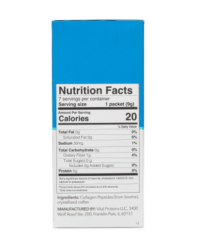 Vital Proteins® Unflavored Crystallized Coffee + Collagen Peptides Packets Perspective: back