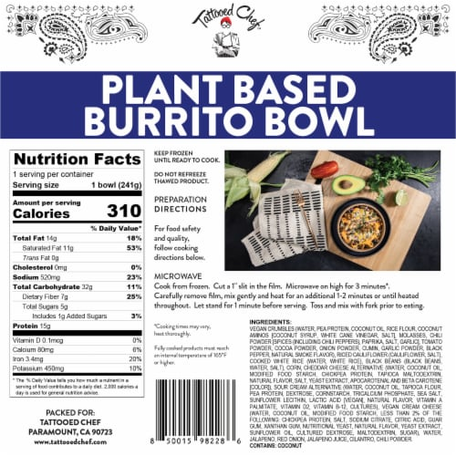 Tattooed Chef Plant Based Burrito Bowl Frozen Meal Perspective: back