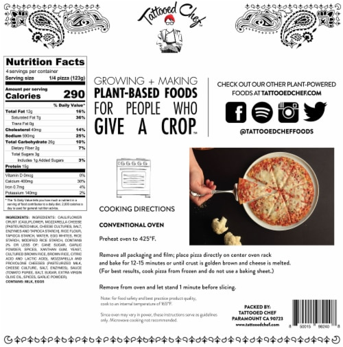Tattooed Chef Cauliflower Crust Cheese Pizza Perspective: back