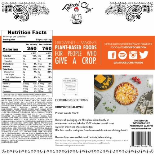 Tattooed Chef Cauliflower Crust Plant-Based Cheese Pizza Perspective: back