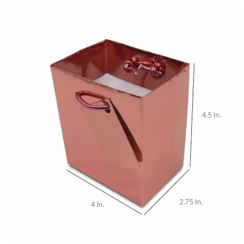 Extra Small Rose Gold Foil Gift bags with Handles, Designer Solid Color Paper Gift Wrap Bags Perspective: back