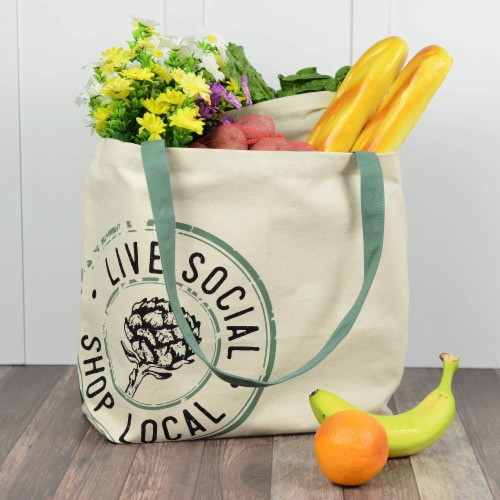 Farmers Market Tote, Reusable Cotton Grocery Bag, Washable Organic Cotton with Print Perspective: back
