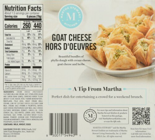 Martha Stewart Kitchen Ready to Bake Frozen Goat Cheese Hors D'Oeuvres Perspective: back