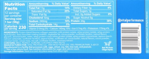 Vital Performance Chocolate Almond Protein Bars Perspective: back