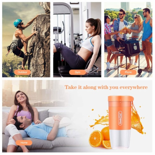 Geek Chef 10 Ounce Rechargeable Portable Blender Bottle with USB Cable, Orange Perspective: back
