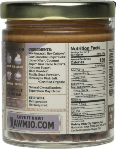 Rawmio Creamy Almond Chocolate Chip Cookie Dough Spread Perspective: back