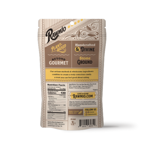 Rawmio Organic Chocolate Covered Golden Raisins Perspective: back