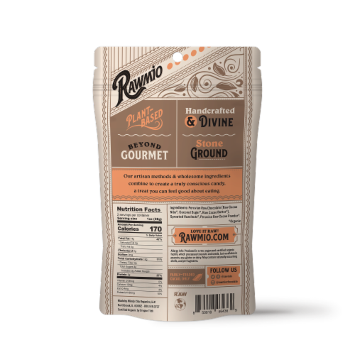 Rawmio Organic Chocolate Covered Sprouted Hazelnuts Perspective: back