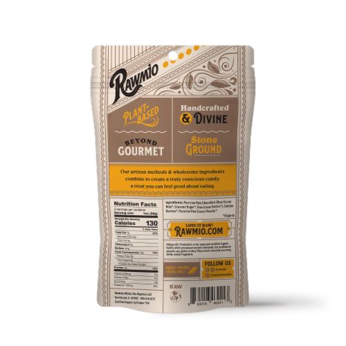 Rawmio Organic Chocolate Covered Golden Berries Perspective: back