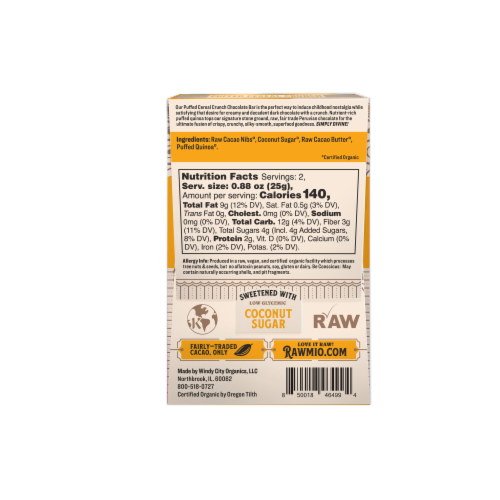 Rawmio Organic Puffed Cereal Crunch Raw Chocolate Bar Perspective: back