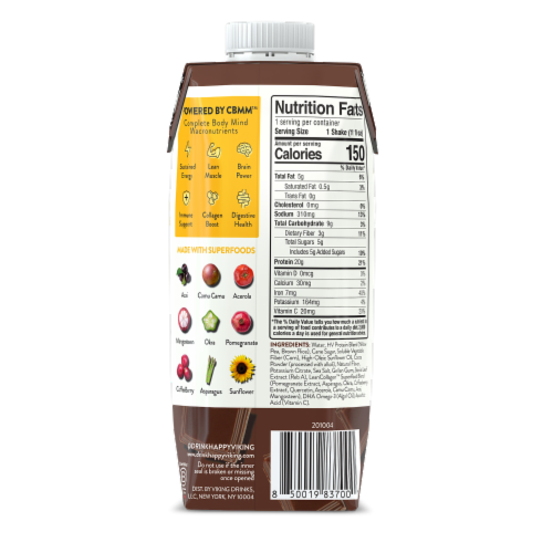 Happy Viking Triple Chocolate Plant Protein Shake Perspective: back