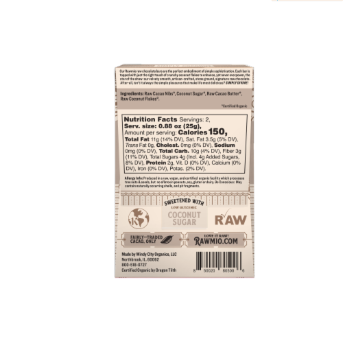 Rawmio Simply Coconut Raw Chocolate Bar Perspective: back