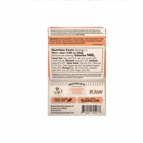 Rawmio Organic Coconut Caramel & Crushed Cashew Raw Chocolate Bar Perspective: back