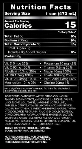ZOA™ Zero Sugar Lemon Lime Energy Drink Perspective: back