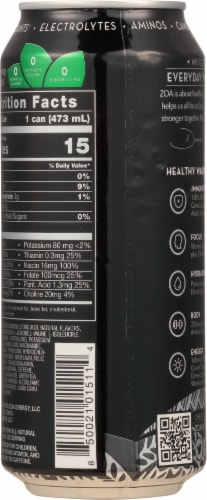 ZOA Zero Sugar Original Energy Drink Perspective: back