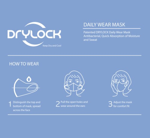 Drylock Large Black Washable Mask and Filters Perspective: back