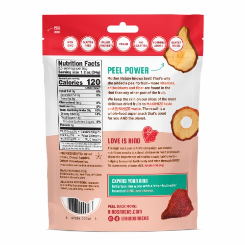 RIND Snacks Straw-Peary Dried Fruit Superfood - 3oz Bags, 6 Bags Total Perspective: back