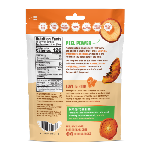 RIND Snacks Orchard Blend Dried Fruit Superfood - 3oz Bags, 6 Bags Total Perspective: back