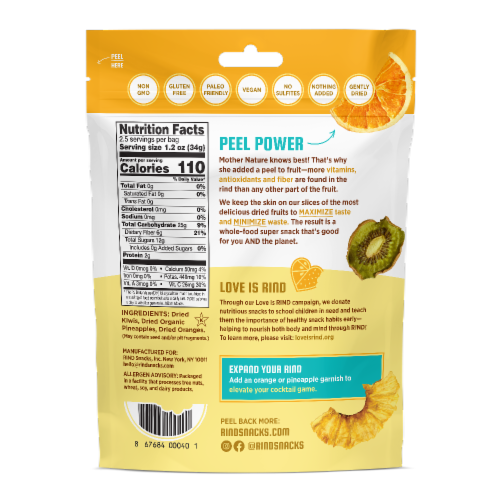 RIND Snacks Tropical Blend Dried Fruit Superfood - 3oz Bags, 6 Bags Total Perspective: back