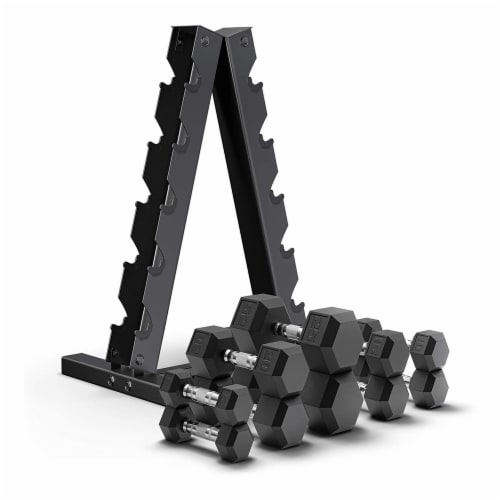 Epic Fitness 5 Pair of Hex Dumbbell Hand Weight Set with A Frame Storage Rack Perspective: back