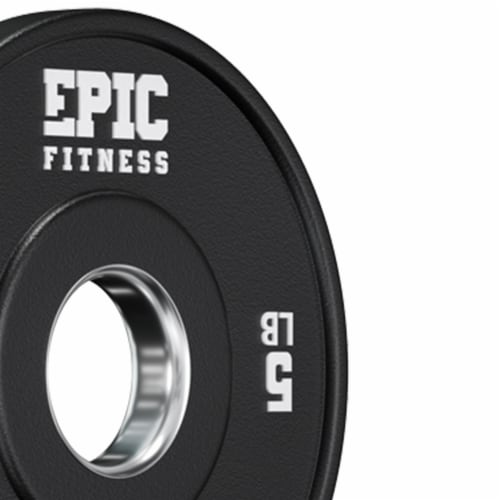 Epic Fitness Urethane Competition Barbell Plate for Training, 5 Pound Set, Black Perspective: back