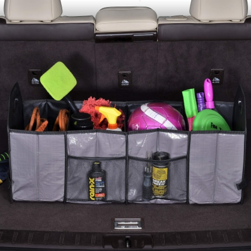 Foldable Trunk Organizer Functional Cargo Storage Divider Bag, 4 Compartments Portable Bag Perspective: back