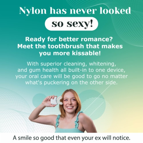 AutoBrush Adults Pro with Nylon Bristles - Whole Mouth Electric Toothbrush (White) Perspective: back
