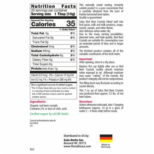Salus Organic Red Beet Soluble Crystals Dietary Supplement Perspective: back