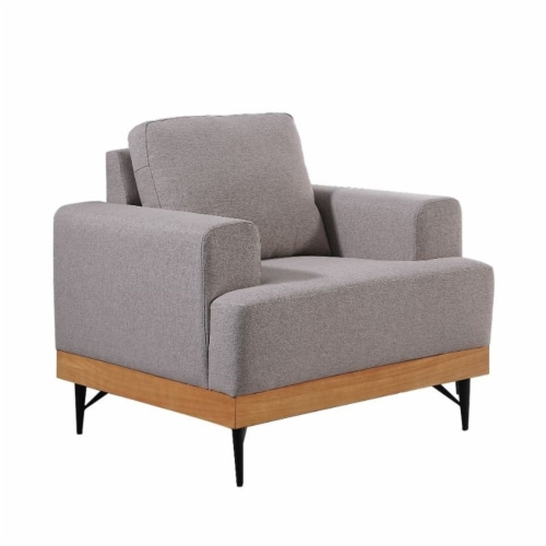 Devion Furniture Modern Fabric Loveseat in Light Gray Perspective: back