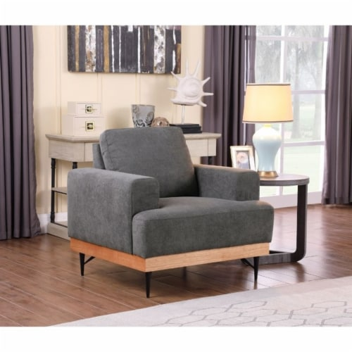 Devion Furniture Modern Fabric Chair-Loveseat & 3 Seater Sofa Set in Gray Perspective: back
