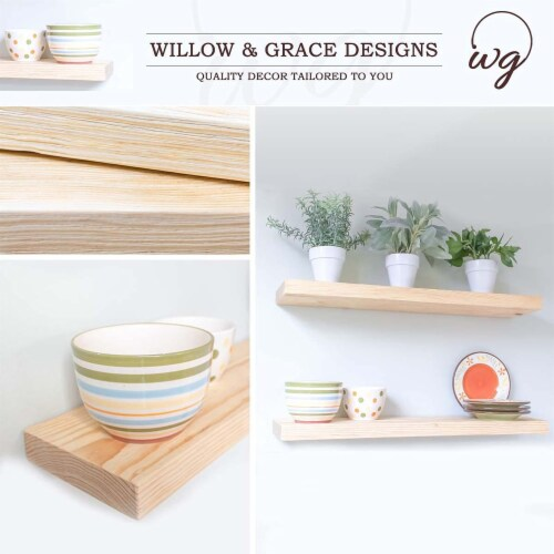 Willow & Grace Caro 24 Inch Floating Wood Wall Mount Shelves, Natural, Set of 2 Perspective: back
