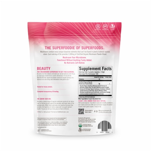 Om® Beauty Organic Mushroom Superfood Powder Perspective: back