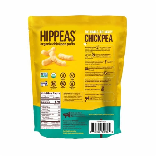 Hippeas Vegan White Cheddar Organic Chickpea Puff Packs 6 Count Perspective: back