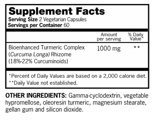Qunol Turmeric Extra Strength Turmeric 1000mg Vegetarian Capsules Perspective: back