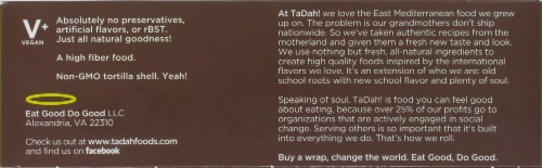 Tadah! Lemony Roasted Garlic Hummus Falafel Wrap Perspective: back