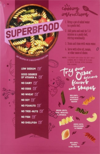 Cybele's Free to Eat® Gluten Free Superfood Purple Rotini Pasta Perspective: back