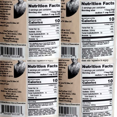 Millie's Sipping Broth 4 Flavor Assortment - 12 Count Perspective: back
