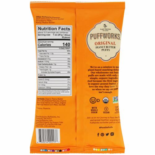 Puffworks Organic Original Peanut Butter Puffs Perspective: back