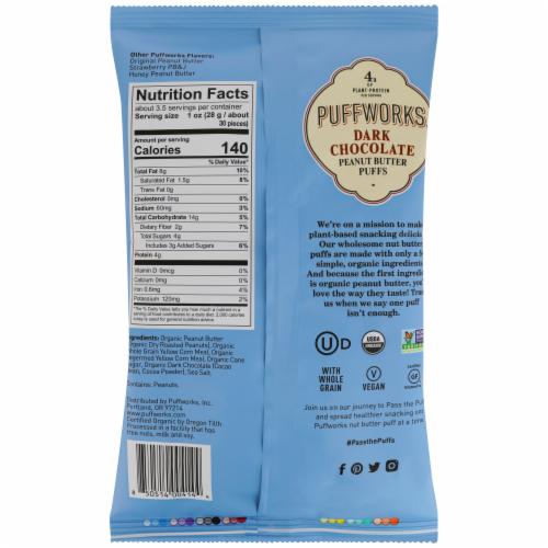 Puffworks Organic Dark Chocolate Peanut Butter Puffs Perspective: back