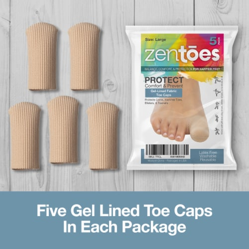ZenToes Toe Caps Closed Toe Fabric Sleeve Protectors with Gel Lining - 5 Pack (Size Large) Perspective: back