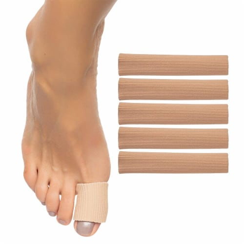 ZenToes Open Toe Tubes Fabric Gel Lined Sleeves Protect Corns, Blisters - 5 Pack (Large) Perspective: back