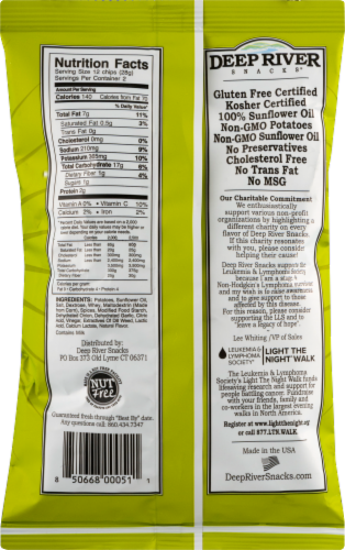 Deep River Snacks New York Spicy Dill Pickle Kettle Cooked Potato Chips Perspective: back