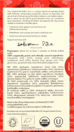 Pukka Revitalise Herbal Tea Sachets Perspective: back