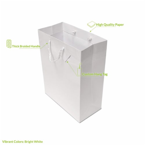 Red Gift bags with Handles, Designer Solid Red Paper Gift Wrap Bags Perspective: back