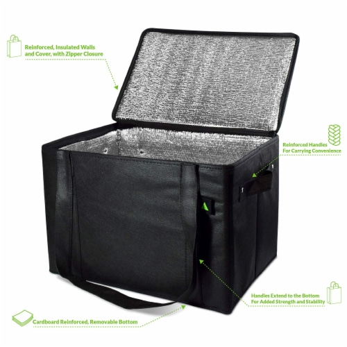 Insulated Grocery Bag Zippered Top, Reusable Shopping Tote, Collapsible Cooler With Handles Perspective: back