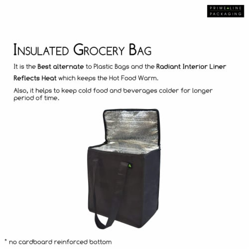 """12.5x7.75x14"""" 2 Insulated Reusable Grocery Bags, Thermal Shopping Tote w/ Zippered Top Perspective: back"""