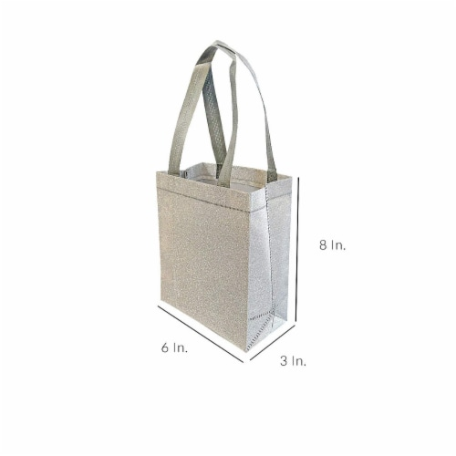 Prime Line Packaging Reusable Glitter Gift Bag with Handles Perspective: back